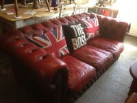 Stunning Vintage Chesterfield 3 Seater Sofa Oxblood Red Delivery Possible