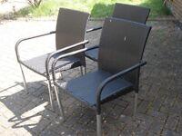 3 black rattan garden chairs