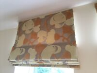 ROMAN BLINDS in Zoffany fabric. 3 complete with fittings, toggles and tie hooks
