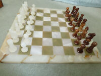 vintage alabaster chess set and onyx board