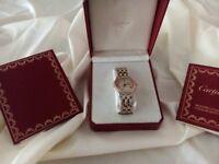 Genuine Cartier Cougar Solid Gold/SS Gents Quartz Wristwatch
