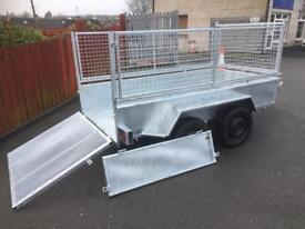 Trailer 8x4 builders trailer twin wheel trailer with full mesh