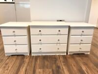 Cream Set of 3 Drawers and 2 Bedside Tables