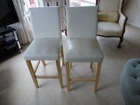 2 no. beige/cream solid pine kitchen/breakfastroom stools.