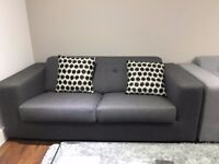 3 seater fabric sofa/couch +/- armchair in grey in excellent condition (1 year old) CHEAP