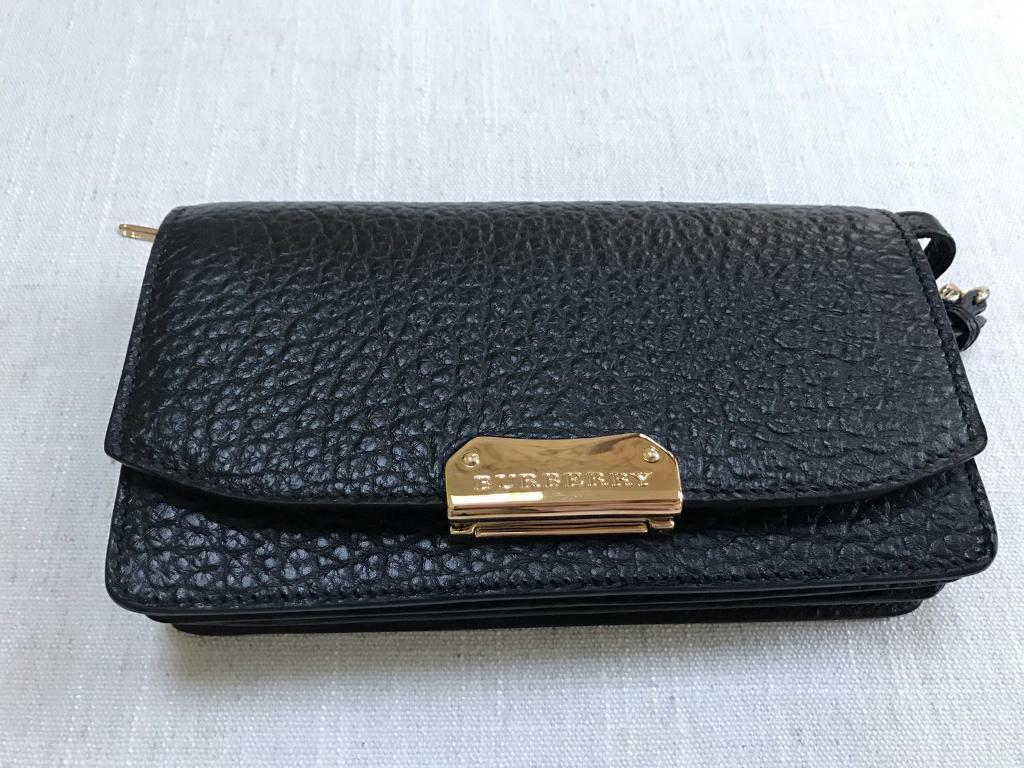 Burberry Small Chain Clutch Bag- Black Grain Leather