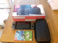 Nintendo Switch with Zelda, protective case & carry case