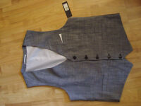 New River Island Mens Grey Waistcoat - XL - Smart Formal Work Wedding
