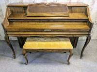 Gorgeous Oak 'Kimball' Upright Art Deco Console Piano & Stool - CAN DELIVER