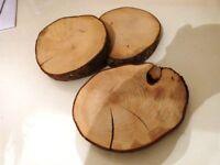 9 large, hazel wood coasters, hand sawn - Chester / Ellesmere Port