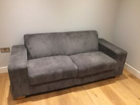Grey Velvet Sofa Comfortable Excellent Condition