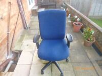 computer chair in an hard wearing blue cloth