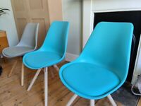 Danish style dining chairs x3 (2 teal NEW and 1 grey USED)