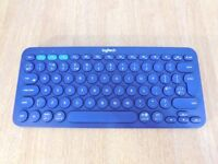 Logitech K380 Bluetooth Keyboard for Windows, Mac, Android, and iOS - QWERTY, UK Layout, Blue