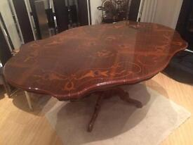 Louis style polished wooden dining table