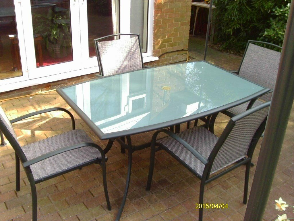 Glass patio table rectangular - Six Seater Rectangular Patio Table Chairs Green Metal Frame With Glass Top Very