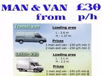 Man and van FROM £30 p/h Transit, £40 p/h Luton van, Local and long distance moves, open 7am - 7pm