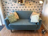 2x Teal 2 seater sofas