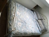 Laura Ashley beautiful ivory hand cast metal bed frame and firm pocket sprung mattress