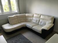 Leather 3 +2 corner sofa.