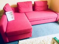 PINK CORNER SOFA BED WITH STORAGE - CASH ONLY