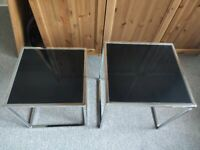 Hanley Nest of 2 x Tables in Black Tempered Glass and Chrome Steel / Small Chairs