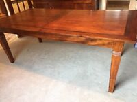 Wood extendable dining table and 10 chairs (2 carvers), matching sideboard available at extra cost