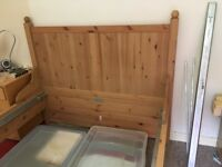 "IKEA ""Hurdal"" solid pine double bed frame and base vgc"