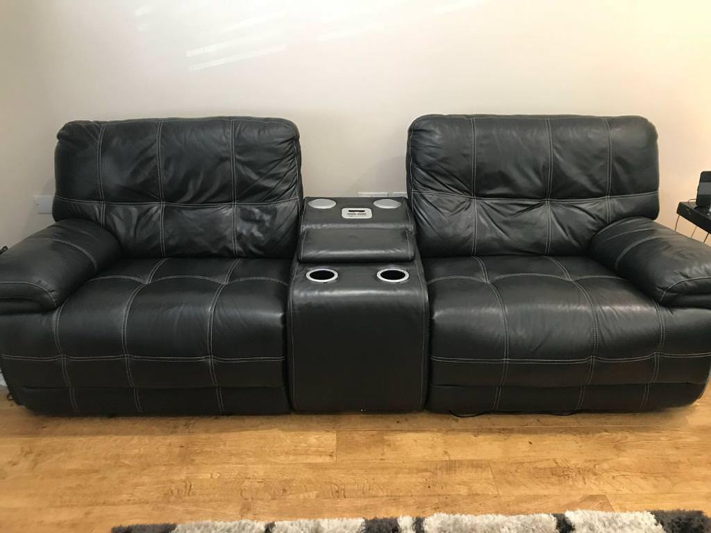 Leather Reclining Sofas And Chair With In Built Bluetooth Speakers Drinks Coolers