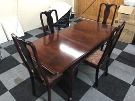 Restored antique table and 4 Queen Anne style chairs