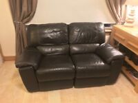 2 and 3 Seater Brown Leather Reclining Sofa Suite