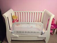 Tutti bambini Katie sleigh cot bed-white