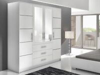BALI 4 DOOR WARDROBE!! BRAND NEW AVAILABLE IN 2 COLOURS, MIRROR, DRAWERS!! HOME DELIVERY AVAILABLE!!