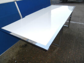 High Gloss white meeting table 12 seater Huge (Delivery)