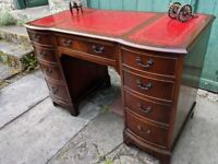 Vintage Red Leather Top Curved Front Captains Writing Desk