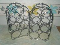 2x chrome wine racks