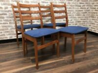Set of 4 Aged Teak Dining Chairs with Blue Upholstery