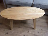 Stylish beech effect oval coffee table excellent condition
