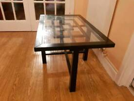 Large wooden glass table