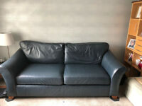 Stunning M & S blue leather 3 seater sofa and matching chair
