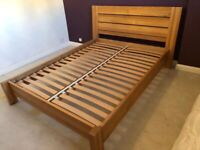 Solid Oak bed frame and mattress
