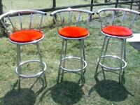 3 chrome bar dining chairs