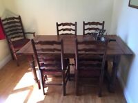MultiYork Dark Oak Dining Table and Six Chairs (Two Carver) and Matching Sideboard