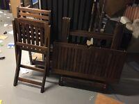 Hardwood foldup Table and four chairs