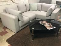 EX DISPLAY LIGHT GREY HIGH QUALITY SMALL CORNER SOFA 5 SEATER - THICK CUSHIONS - WE DELIVERY
