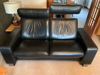 Stressless 2 seater black leather Arion sofa