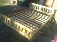 RUSTIC SHABBY CHIC PINE DOUBLE BED FRAME 6FT.3 X4.6FT