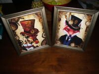 2 NEW STEAMPUNK STYLE GIRAFFE AND FOX PRINTS IN BRONZE/GOLD GLASS FRAMES 12 INCHES BY 10 INCHES