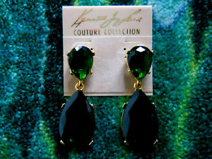 Kenneth Jay Lane Gold Crystal Emerald Drop Clip Earrings