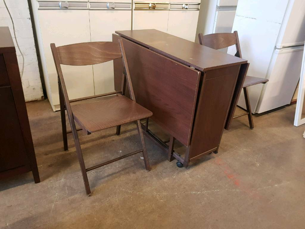 Dropleaf dining table and 2 foldable chairs | in Newcastle, Tyne and ...